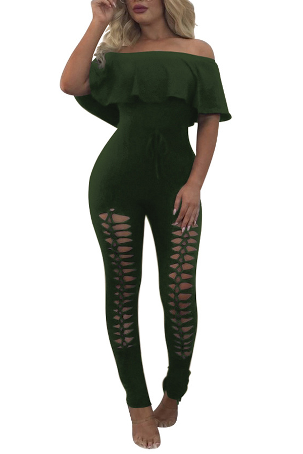 Trendy Dew Shoulder Hollow-out Army Poliester Green One-Piece Jumpsuits
