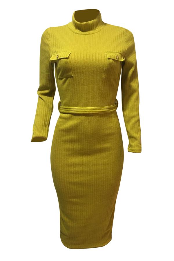 Euramerican Long Sleeves Yellow Polyester Sheath Mid Calf Dress