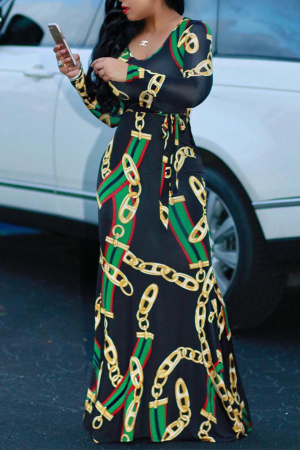 Encantadora Cadena De Cuello Redondo De Moda Impresa Vestido De Longitud De Tobillo Tela Sana