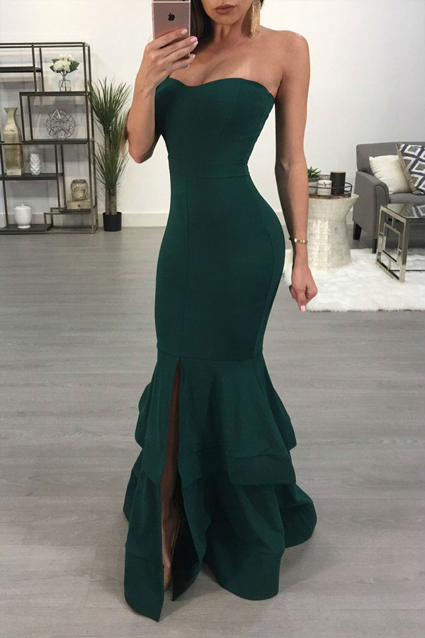 Sexy Dew Shoulder Falbala Design Green Polyester Ankle Length Dress