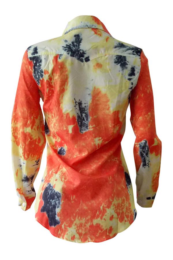 Adorável Euramerican Colar De Abertura De Cama Mangas Compridas Camisas De Tecido Elástico Amarelo Impresso