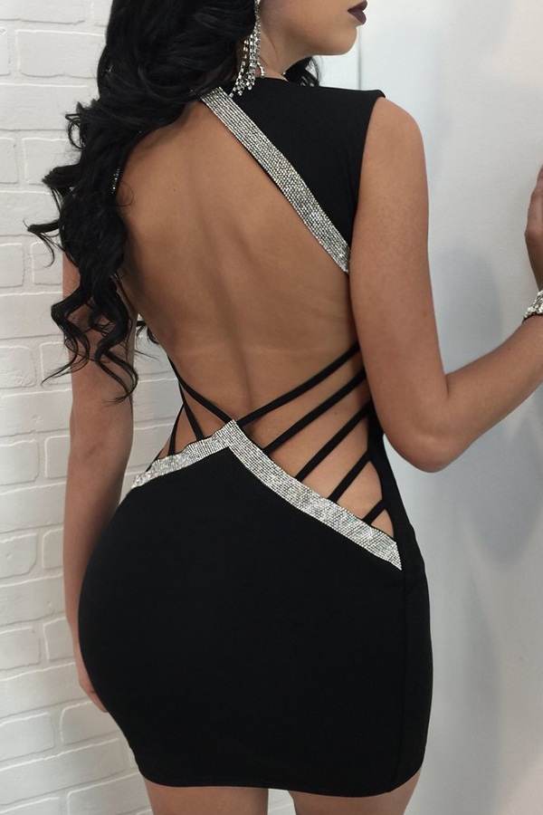 Sexy V Neck Hollow-out Black Polyester Sheath Mini Dress