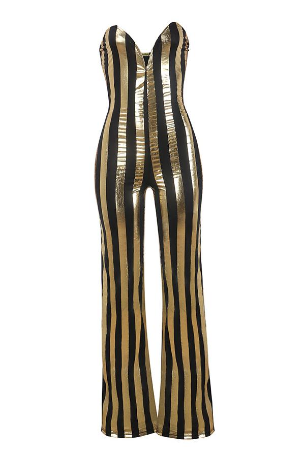Sexy Tau Schulter Gestreifte Schwarz-gold-polyester Einteilige Overalls