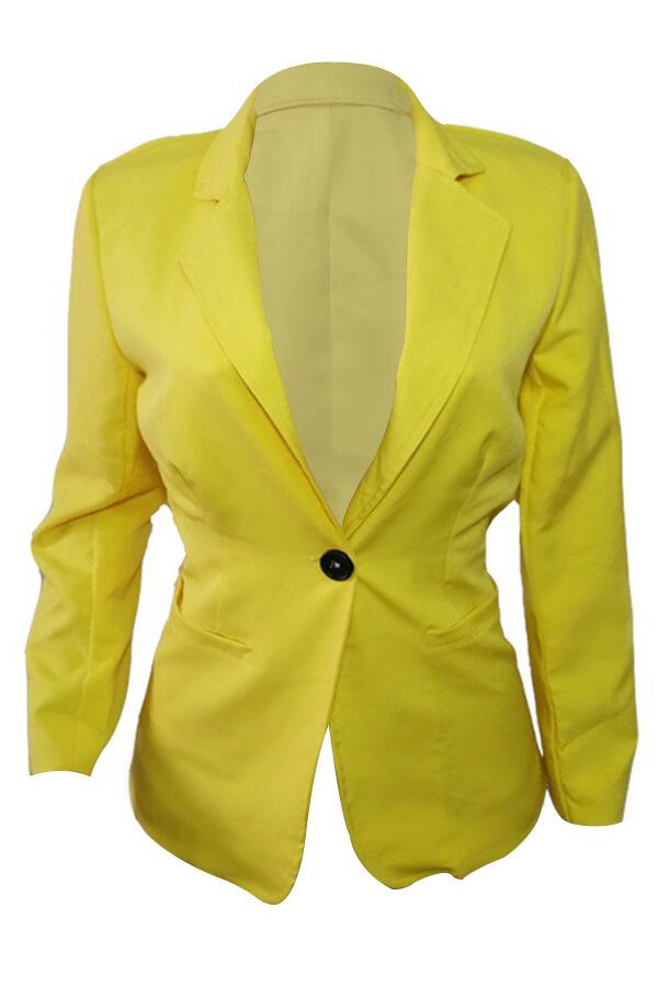 Lovely Stylish Turndown Collar Single Button Yello