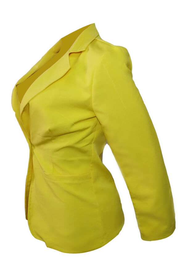 Lovely Stylish Turndown Collar Single Button Yellow  Blazer