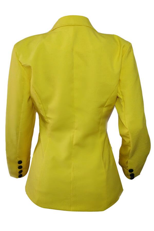 Elegante Cuello doblado Un solo botón Blazer de poliéster amarillo
