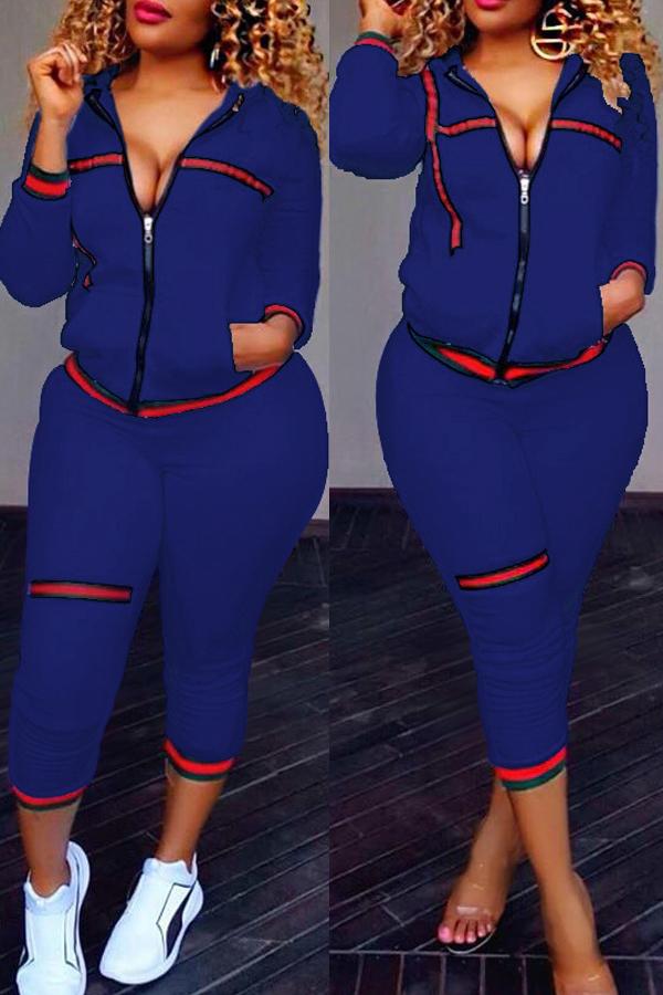 Leisure Zipper Design Dark Blue Knitting Conjunto de calças de duas peças