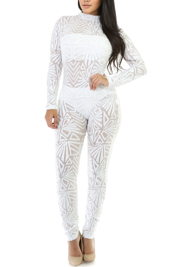 Sexy Printed See-Through White Polyester One-piece Jumpsuits(Without Lining)<br>