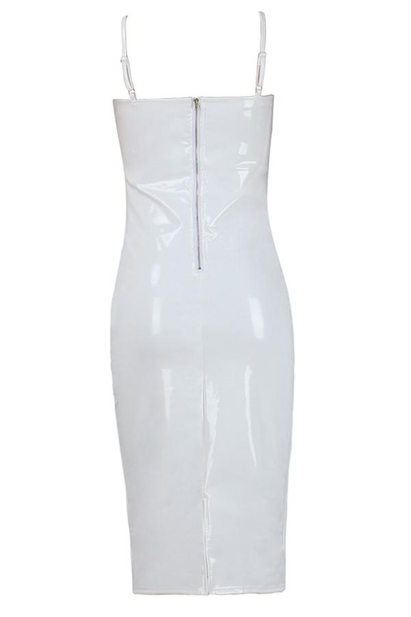 Vestido Con Cuello En V Y Cremallera Con Cuello En V De Poliéster Blanco