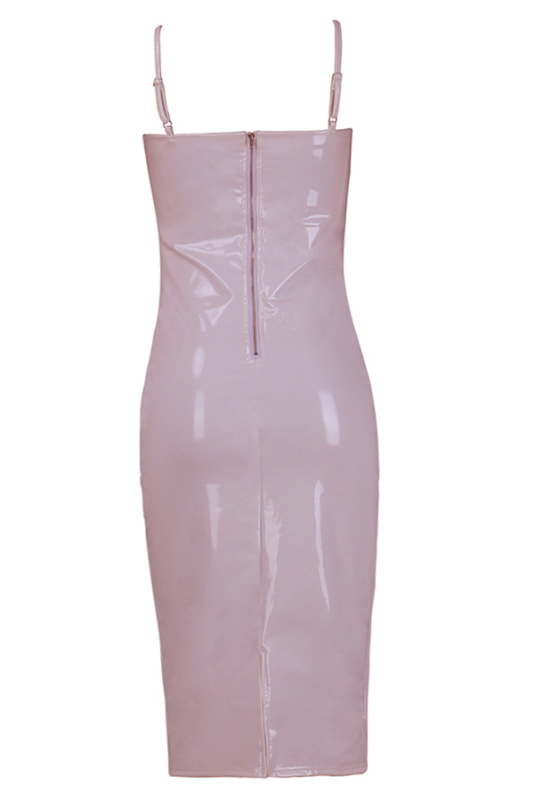 Sexy V Neck Zipper Design Pink Polyester Sheath Knee Length Dress