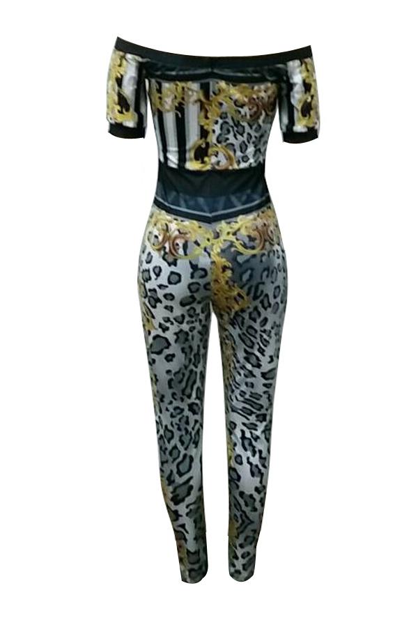 Euramerican Bateau Neck Leopard Printed One-piece Jumpsuits