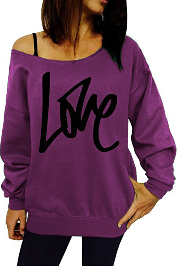 Leisure Round Neck Long Sleeves Letters Printing Purple Cotton Pullover<br>