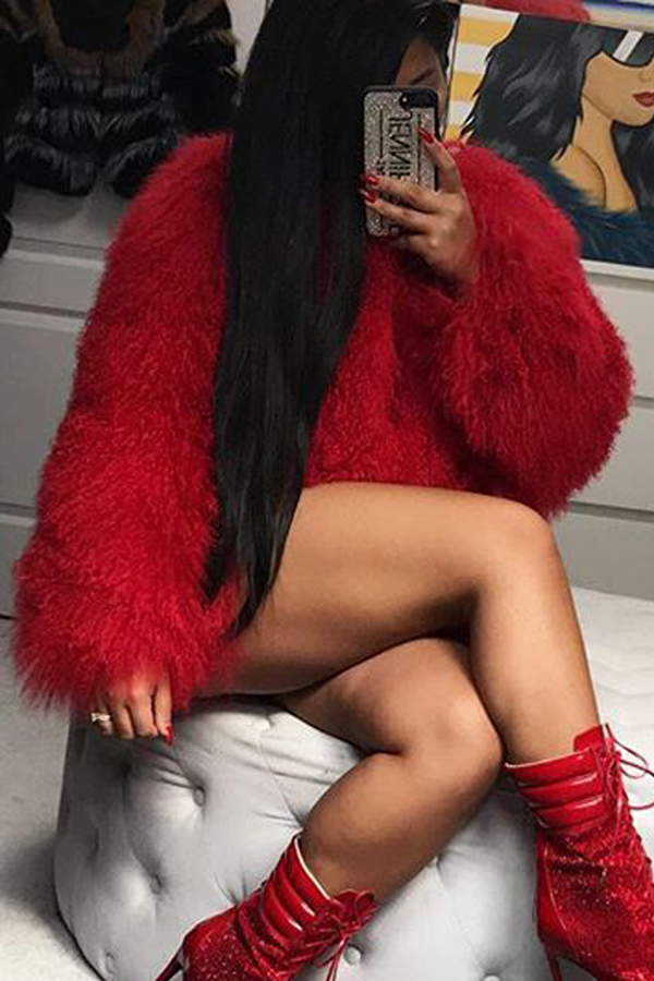 Euramerican Round Neck Long Sleeves Red Faux Fur Coat