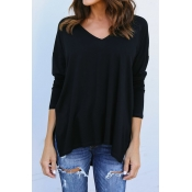 Lovely Leisure V Neck Long Sleeves Asymmetrical Bl