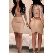 Sexy V Neck See-Through Apricot Bud Silk Two-piece Skirt Set