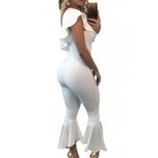 Модные Dew плеча Falbala дизайн белый полиэстер цельный комбинезон