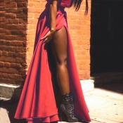 Trendy High Split Red Polyester Ankle Length Skirt