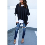 Casual Half Sleeves Asymmetrical Black Cotton Shir