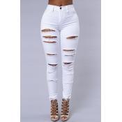 Стильный высокой талией Сломанные отверстия белые джинсовые брюки