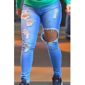 Elegante cintura alta rotos agujeros pantalones azules