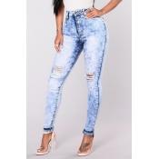 Стильный высокой талией Сломанные отверстия голубой джинсовой Pa