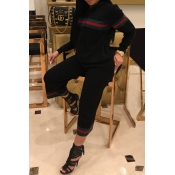 Leisure Hooded Collar Patchwork Black Cotton Two-piece Pants Set
