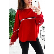 Leisure Round Neck Patchwork Red Polyester Pullove