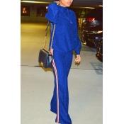 Stylish Round Neck Patchwork Blue Nylon Two-piece Pants Set