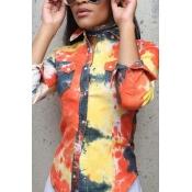 Lovely Euramerican Turndown Collar Long Sleeves Printed Yellow Elastic Fabric Shirts