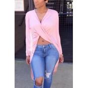 Camisas De Blusão Rosa Assimétricas Com Pescoço V Sexy