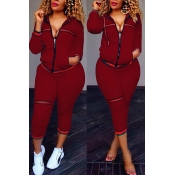 Leisure Zipper Design Wine Red Knitting Two-piece Pants Set