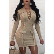 Vestido De Poliéster Mini Albaricoque Diseño De Vendaje En V Cuello Sexy