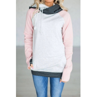 Lovely Leisure Long Sleeves Patchwork Pink Blending Hoodies
