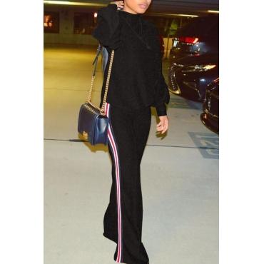 Stylish Round Neck Patchwork Black Nylon Two-piece Pants Set