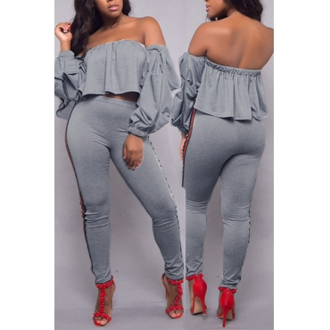 Trendy Dew Shoulder Patchwork Grey Polyester Two-piece Pants Set