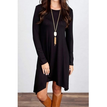 Leisure Round Neck  Asymmetrical Black Blending Mini Dress