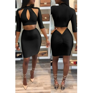Sexy Hollow-out Black Cotton Two-piece Skirt Set