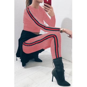 Euramerican Patchwork Pink Cotton Two-piece Pants Set