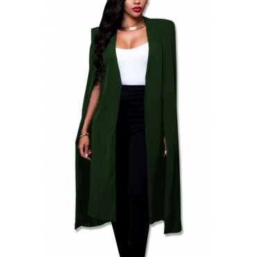 Trendy V Neck Long Sleeves Army Green Polyester Long Coat
