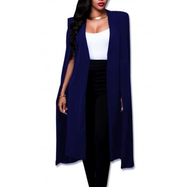 Trendy V Neck Long Sleeves Blue Polyester Long Coat