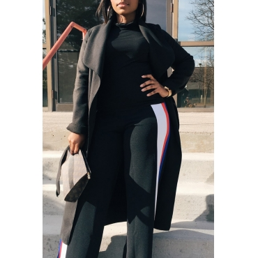 Trendy Turndown Collar Long Sleeves Black Cotton Long Wool Coat