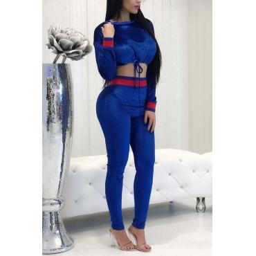 Leisure Round Neck Blue Velvet Two-piece Pants Set
