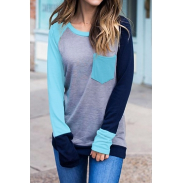 Lovely Leisure Round Neck Patchwork Light Blue Polyester T-shirt