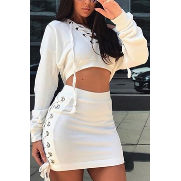 Sexy Round Neck Hollow-out White Cotton Two-piece Skirt Set
