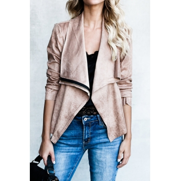Lovely Euramerican Turndown Collar Zipper Design Khaki PU Short Coat