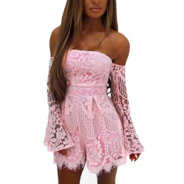 Sexy Dew Shoulder Lace Trim Patchwork Pink One-piece Jumpsuits