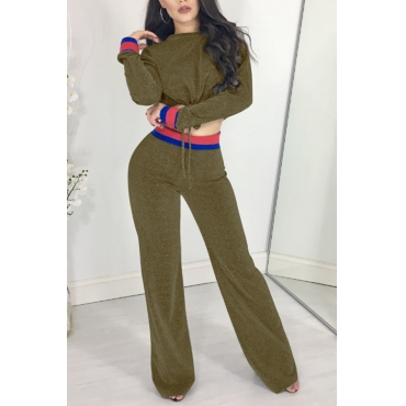 Trendy Round Neck Patchwork Green Polyester Two-piece Pants Set
