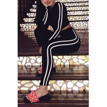 Leisure Long Sleeves Striped Patchwork Black Velvet Two-piece Pants Set