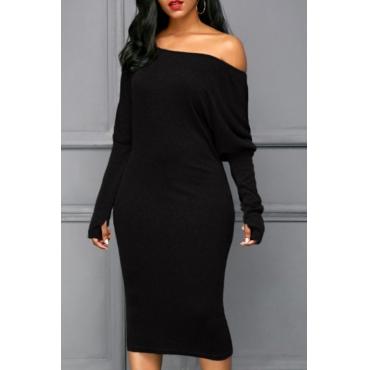 Euramerican Dew Shoulder Black Cotton Blend Sheath Mid Calf Dress