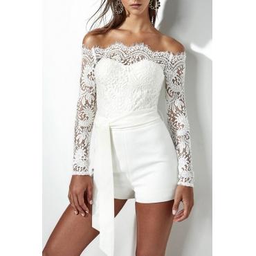 Trendy Dew Shoulder White Bud Silk One-piece Jumpsuits